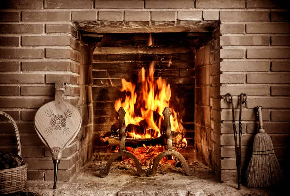 Roaring Fire in Fireplace